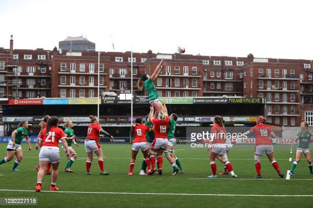 Cardiff , United Kingdom - 10 April 2021; Aoife McDermott of Ireland wins possession in a line out during the Women's Six Nations Rugby Championship...
