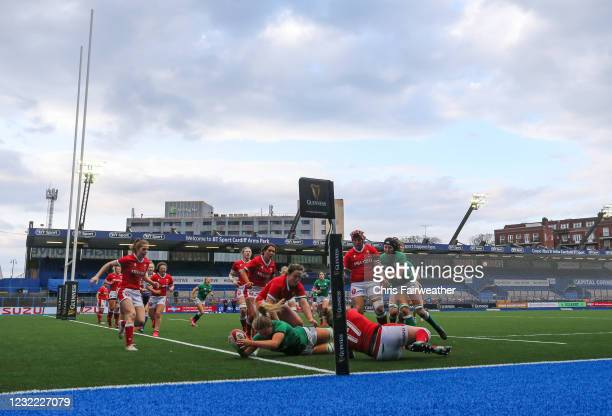 Cardiff , United Kingdom - 10 April 2021; Dorothy Wall of Ireland scores a try during the Women's Six Nations Rugby Championship match between Wales...
