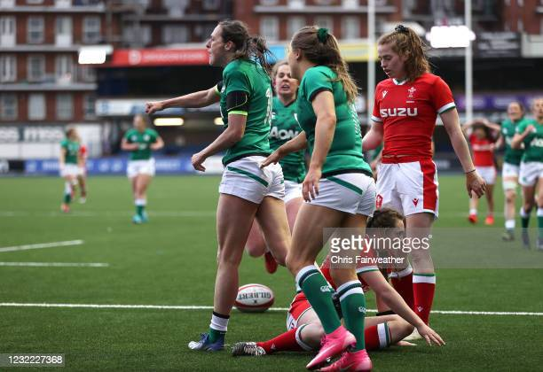 Cardiff , United Kingdom - 10 April 2021; Hannah Tyrrell, left, of Ireland celebrates after scoring a try during the Women's Six Nations Rugby...