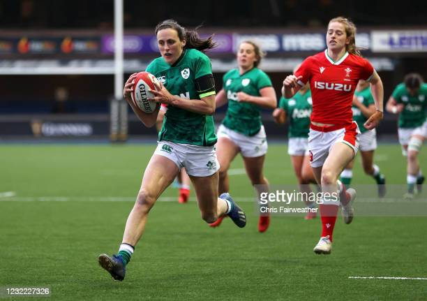 Cardiff , United Kingdom - 10 April 2021; Hannah Tyrrell of Ireland runs in to score a try during the Women's Six Nations Rugby Championship match...