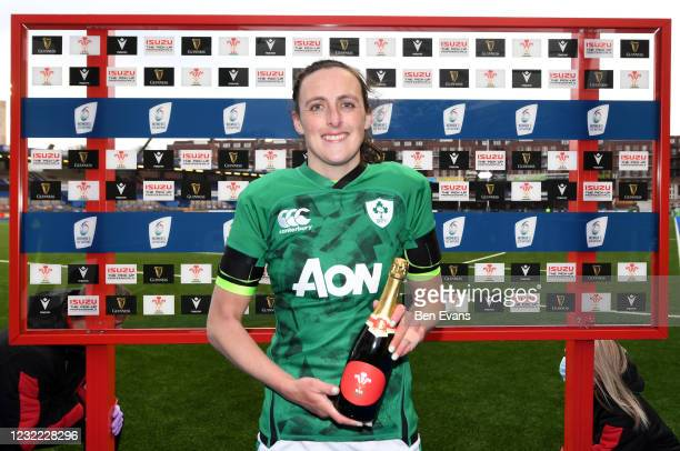 Cardiff , United Kingdom - 10 April 2021; Hannah Tyrrell of Ireland with the player of the match award after the Women's Six Nations Rugby...