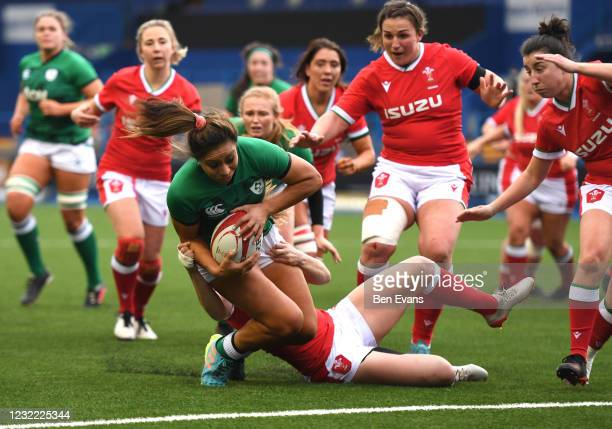 Cardiff , United Kingdom - 10 April 2021; Sene Naoupu of Ireland goes over to score a try during the Women's Six Nations Rugby Championship match...