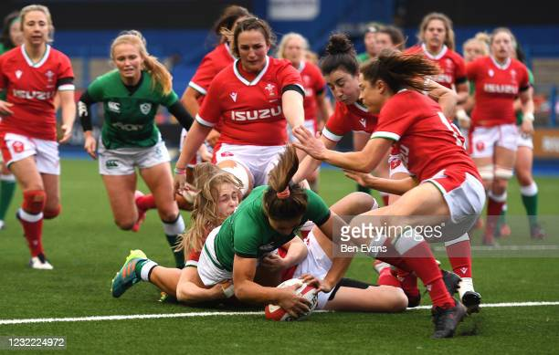 Cardiff , United Kingdom - 10 April 2021; Sene Naoupu of Ireland scores a try during the Women's Six Nations Rugby Championship match between Wales...