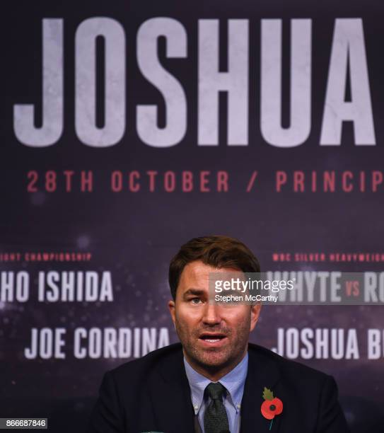 Cardiff United Kingdom 26 October 2017 Promoter Eddie Hearn during the Anthony Joshua and Carlos Takam press conference at the National Museum...