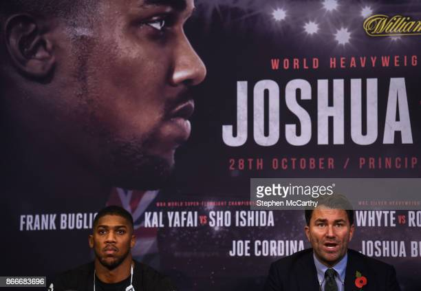 Cardiff United Kingdom 26 October 2017 Promoter Eddie Hearn right and boxer Anthony Joshua during a press conference at the National Museum Cardiff...