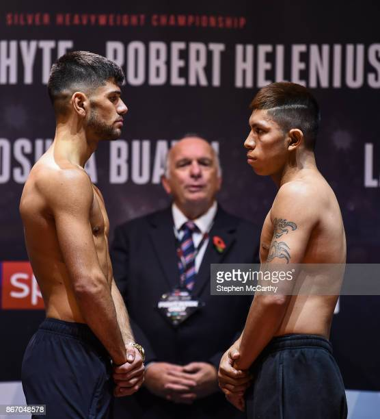 Cardiff United Kingdom 27 October 2017 Joe Cordina left and Lesther Cantillano weigh in at the Motorpoint Arena ahead of their bout on the undercard...
