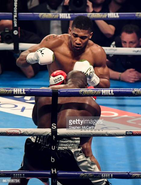 Cardiff United Kingdom 28 October 2017 Anthony Joshua and Carlos Takam during their World Heavyweight Title fight at the Principality Stadium in...