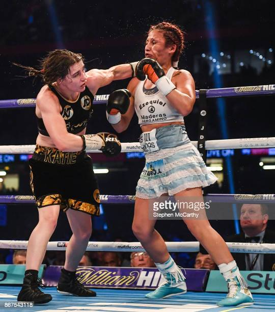 Cardiff United Kingdom 28 October 2017 Katie Taylor left during her vacant WBA World Female Lightweight Title bout with Anahi Sanchez at the...