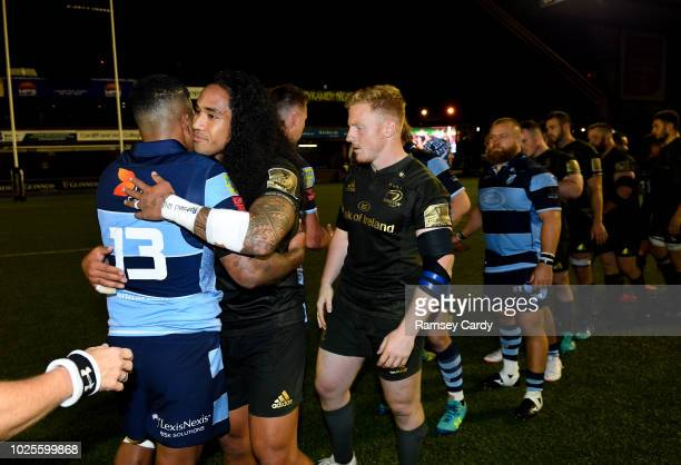 Cardiff United Kingdom 31 August 2018 Joe Tomane of Leinster and Willis Halaholo of Cardiff Blues following the Guinness PRO14 Round 1 match between...
