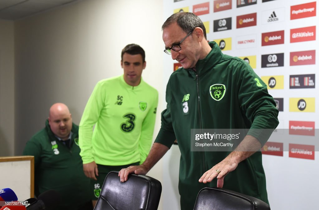 Cardiff , United Kingdom - 5 September 2018; Republic of Ireland manager Martin O'Neill and captain Seamus Coleman arrive for a press conference at Cardiff City Stadium in Cardiff, Wales.