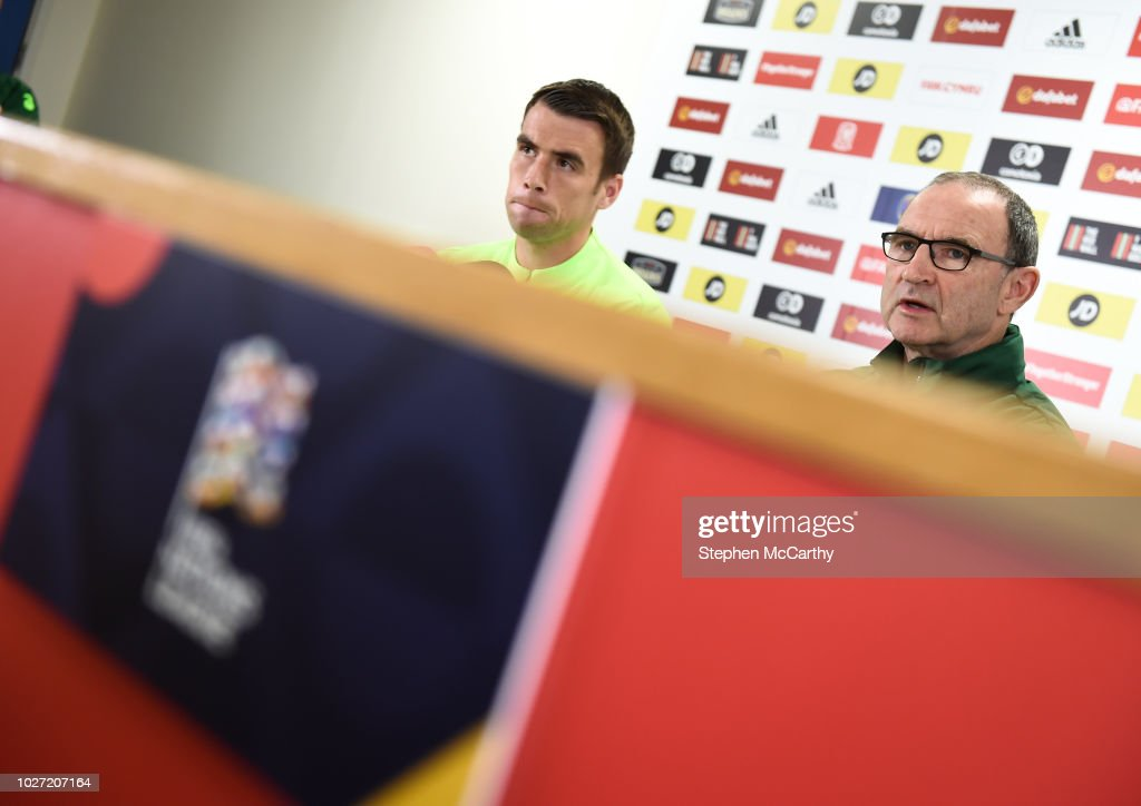 Cardiff , United Kingdom - 5 September 2018; Republic of Ireland manager Martin O'Neill and captain Seamus Coleman during a press conference at Cardiff City Stadium in Cardiff, Wales.