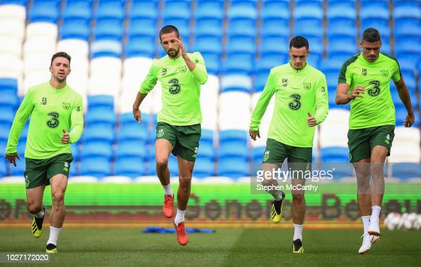 Cardiff United Kingdom 5 September 2018 Republic of Ireland players from left Enda Stevens Conor Hourihane Shaun Williams and Jonathan Walters during...
