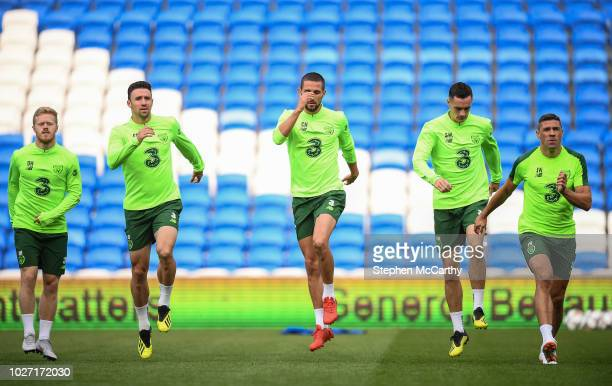 Cardiff United Kingdom 5 September 2018 Republic of Ireland players from left Daryl Horgan Enda Stevens Conor Hourihane Shaun Williams and Jonathan...