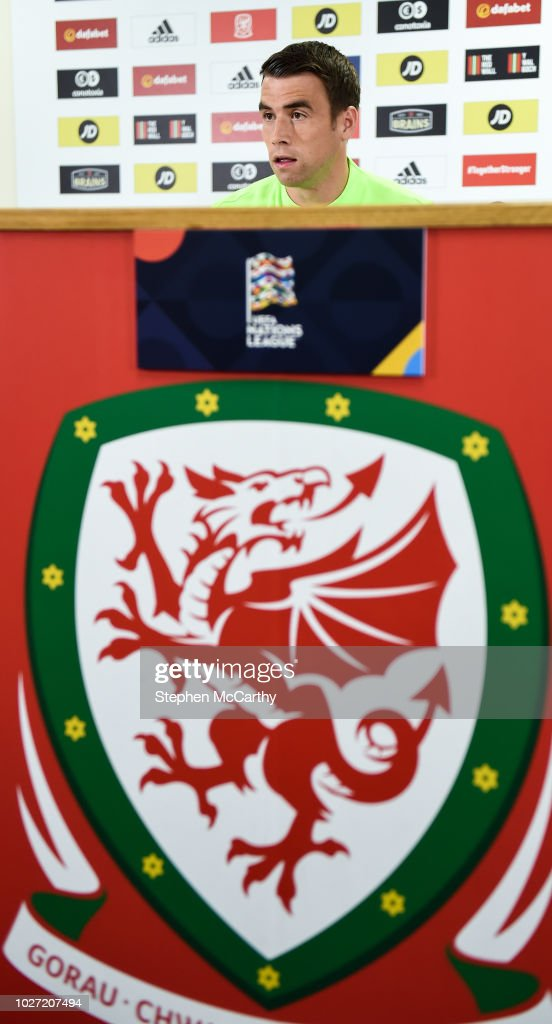 Cardiff , United Kingdom - 5 September 2018; Seamus Coleman during a Republic of Ireland press conference at Cardiff City Stadium in Cardiff, Wales.