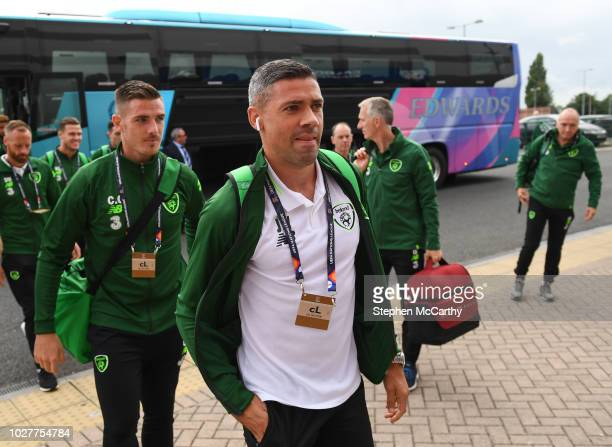 Cardiff United Kingdom 6 September 2018 Ciaran Clark left and Jonathan Walters of Republic of Ireland arrive to the stadium prior to the UEFA Nations...