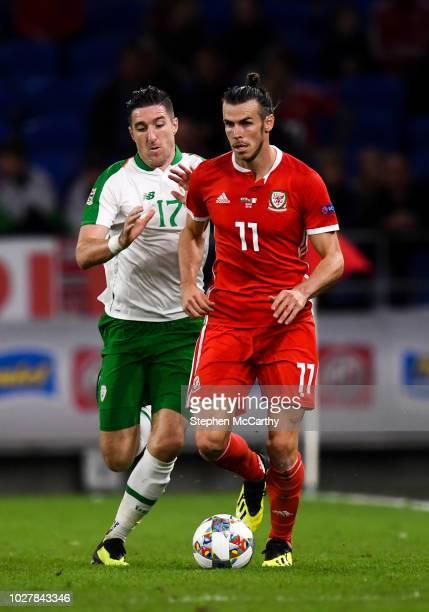 Cardiff United Kingdom 6 September 2018 Gareth Bale of Wales in action against Stephen Ward of Republic of Ireland during the UEFA Nations League...