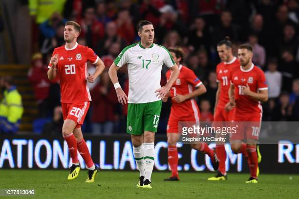 Cardiff United Kingdom 6 September 2018 Stephen Ward of Republic of Ireland reacts after Wales score their first goal during the UEFA Nations League...