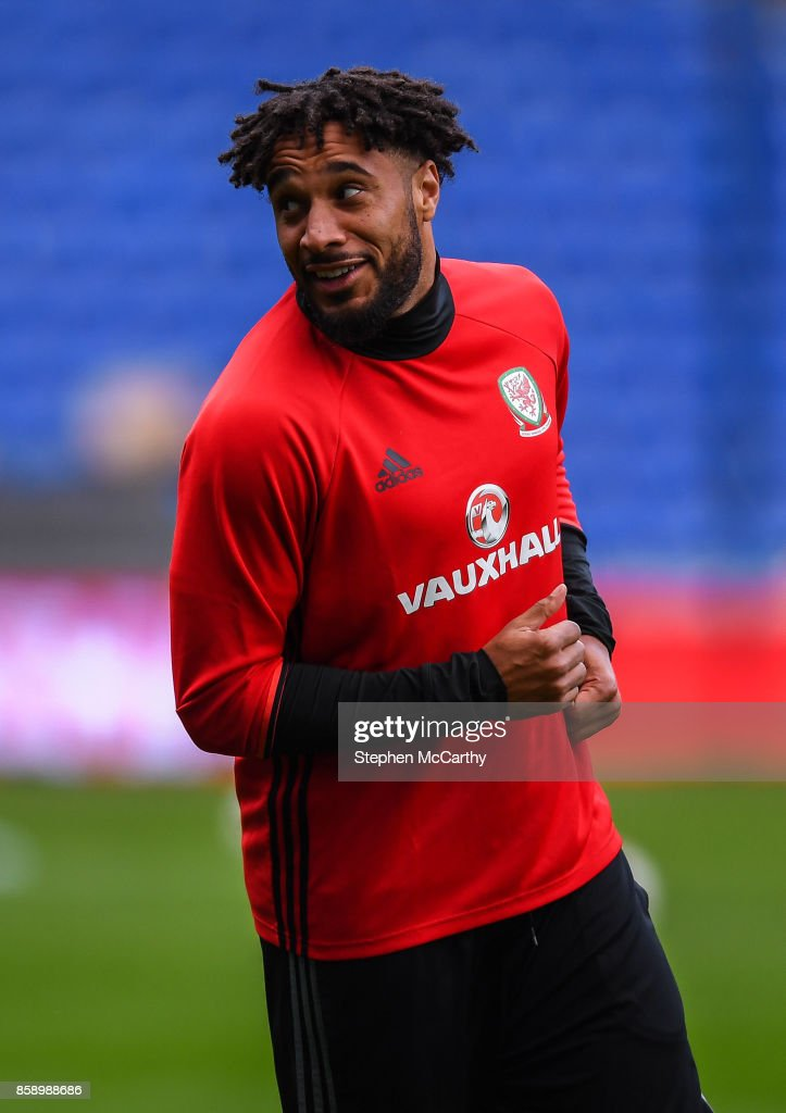 Cardiff , United Kingdom - 8 October 2017; Ashley Williams of Wales during squad training at Cardiff City Stadium in Cardiff, Wales.