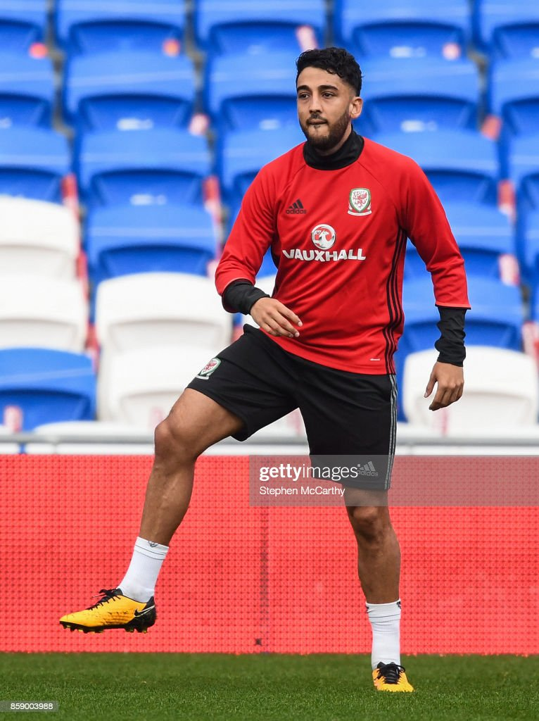 Cardiff , United Kingdom - 8 October 2017; Neil Taylor of Wales during squad training at Cardiff City Stadium in Cardiff, Wales.