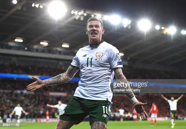 Cardiff United Kingdom 9 October 2017 James McClean of Republic of Ireland celebrates after scoring his side's first goal during the FIFA World Cup...