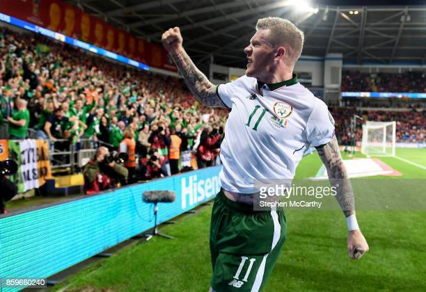 Cardiff United Kingdom 9 October 2017 James McClean of Republic of Ireland celebrates after scoring his side's goal during the FIFA World Cup...