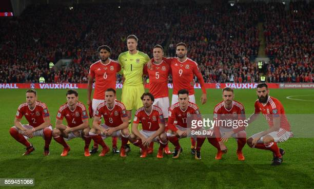 Cardiff United Kingdom 9 October 2017 The Wales team back row from left to right Ashley Williams Wayne Hennessey James Chester Hal RobsonKanu Front...