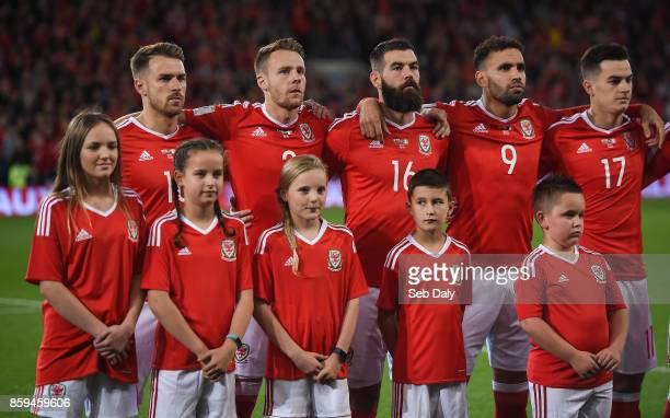 Cardiff United Kingdom 9 October 2017 Wales players from left Aaron Ramsey Chris Gunter Joe Ledley Hal RobsonKanu and Tom Lawrence during the...