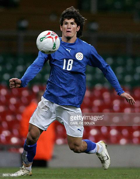 Paraguay's Nelson Haedo Valdez is seen in action during their lnternational friendly match against Wales at the Millenium Stadium Cardiff Wales 01...