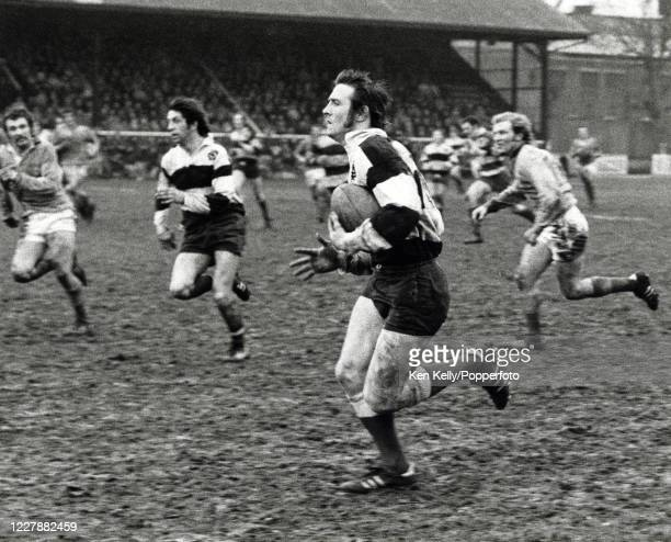 Cardiff Wales and British Lions winger John Bevan in action for the Barbarians against the East Midlands XV during the Mobbs Memorial Match at...