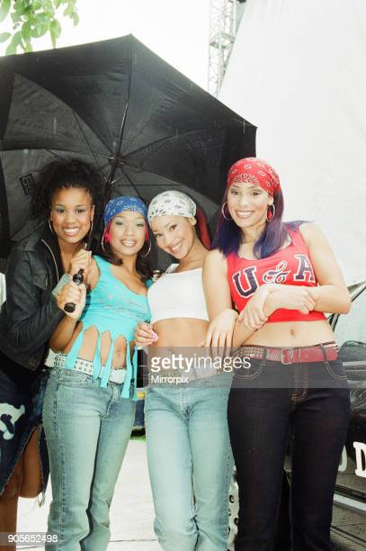 Cardiff's Big Weekend Summer Festival Cardiff Wales 4th August 2001 Tymes 4 Music Group members Melissa Garrick Taymah Gaye Natalie Edwards Holly...