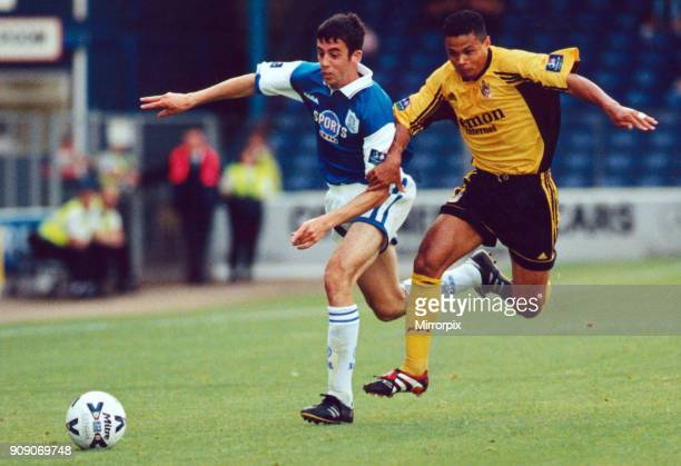 Cardiff's Mark Delaney beats Fulham's John Salako to the ball Cardiff City v Fulham 18th August 1998