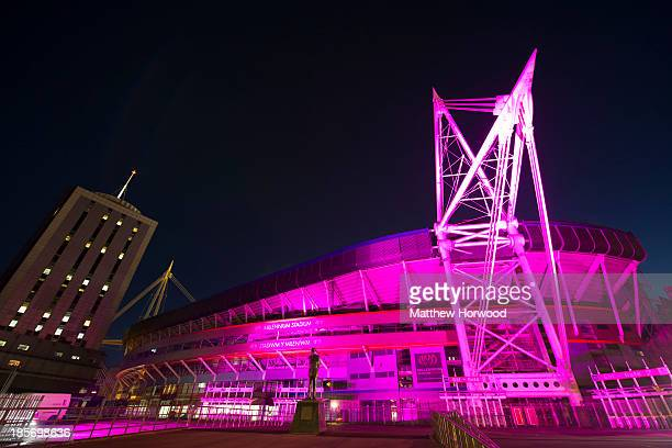 Cardiff's Millennium Stadium turns pink in the lead up to Breast Cancer Campaign's wear it pink on October 23 2013 in Cardiff United Kingdom