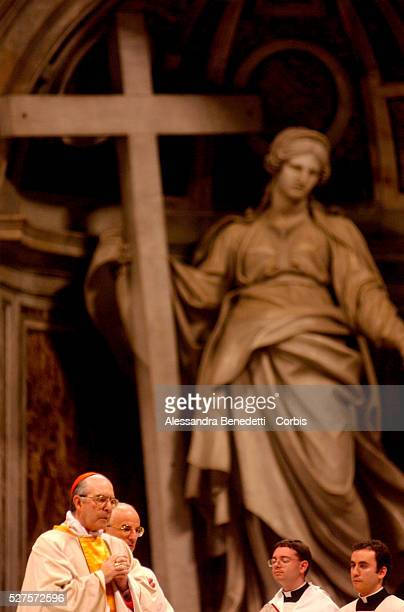 Cardinal Alfonso Lopez Trujillo presides the ritual of the washing of the feet during the Mass of the Lord's Supper in St. Peter Basilica, replacing...