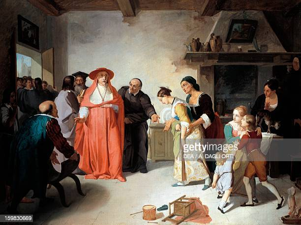 Cardinal Borromeo visiting Lucy in the tailor's house, scene from The Betrothed by Alessandro Manzoni , by Francesco Coghetti , oil on canvas, 35.3...