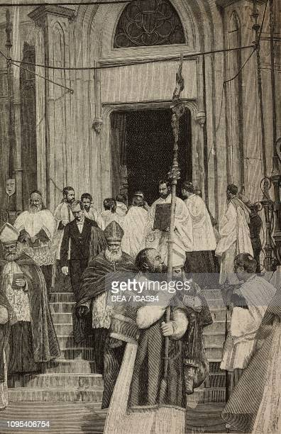 Cardinal CharlesMartial Allemand Lavigerie leaving St Louis chapel to attend the inauguration of St Louis cathedral Carthage Tunisia engraving by...
