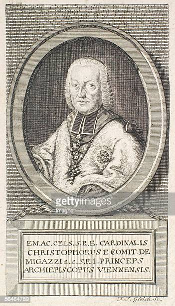 Cardinal Christoph Migazzi. Etching by F. J. Gleich. 18th century. [Kardinal Christoph Migazzi. Radierung von F. J. Gleich. 18. Jahrhundert.]