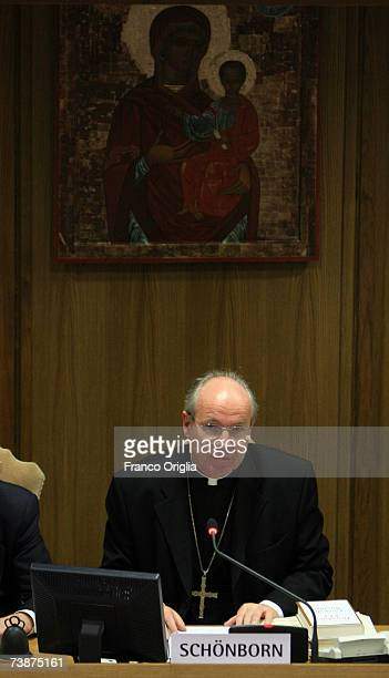 Cardinal Christoph Schsnborn archbishop of Vienna attends the Pope Benedict XVI's latest book 'Jesus of Nazareth' media conference at the Sinodo Hall...