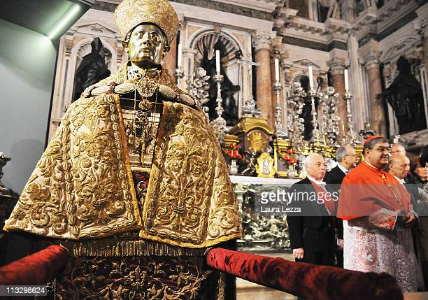 Cardinal Crescenzio Sepe stands near to the bust of San Gennaro at the end of the ceremony on the day of the blood miracle at Naples Cathedral on...