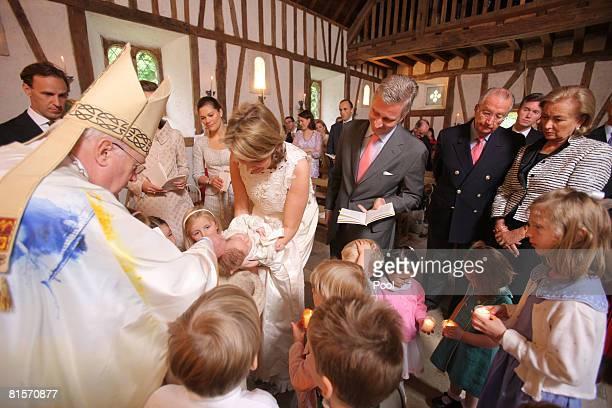 Cardinal Danneels Count Sebastien von Westphalen Princess Claire of Belgium Princess Victoria of Sweden Princess Mathilde carrying Princess Eeonore...