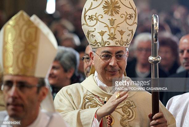 Cardinal Dominique Mamberti arrives at Ajaccio's cathedral to celebrate the pontifical mass on March 18 2015 in Ajaccio French Mediterranean island...