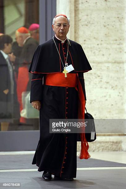 Cardinal Dominique Mamberti leaves the closing session of the Synod on the themes of family the at Synod Hall on October 24 2015 in Vatican City...