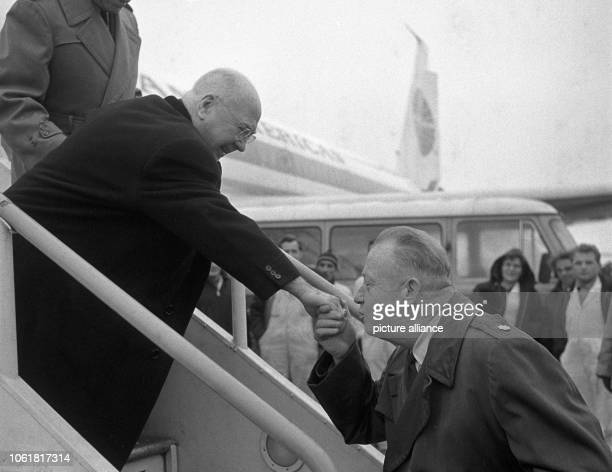 Cardinal Francis Spellman Archbishop of New York and military vicar of the American Forces arrives at the airport in Frankfurt on the Main on 4...