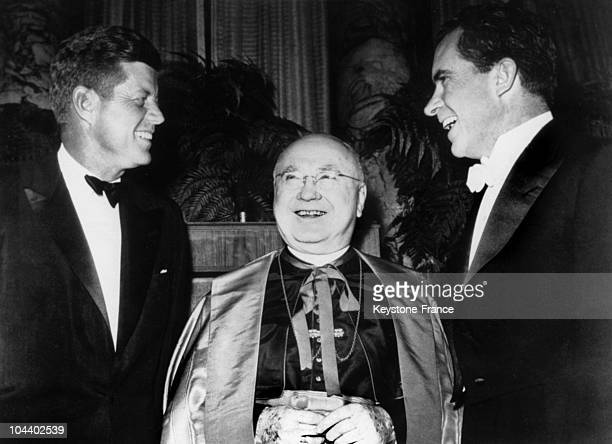 Cardinal Francis SPELLMAN greets the two presidential candidates John Fitzgerald KENNEDY and Richard NIXON who are facing each other at the Astoria...