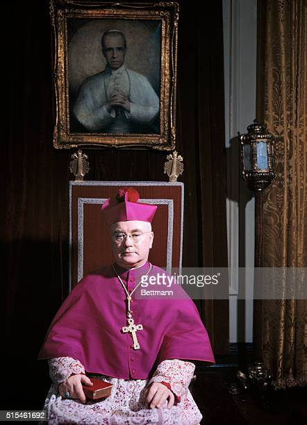 Cardinal Francis Spellman is shown in this seated portrait