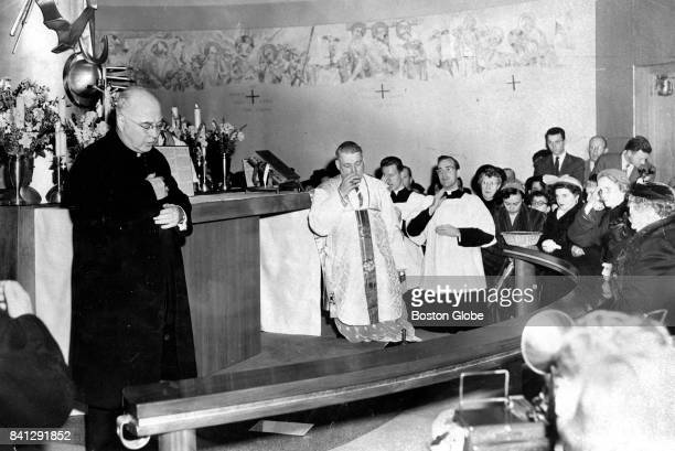 Cardinal Francis Spellman left blesses the new chapel at Logan Airport in Boston on Jan 20 1952 Archbishop Richard Cushing is at center