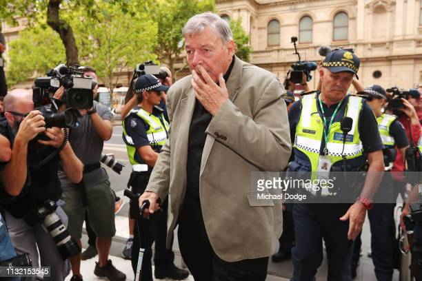Cardinal George Pell arrives at County Court on February 26 2019 in Melbourne Australia Pell once the third most powerful man in the Vatican and...