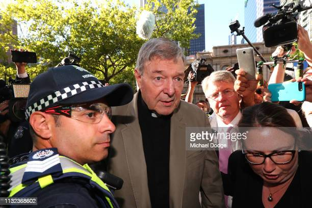 Cardinal George Pell arrives at Melbourne County Court on February 27, 2019 in Melbourne, Australia. Pell, once the third most powerful man in the...