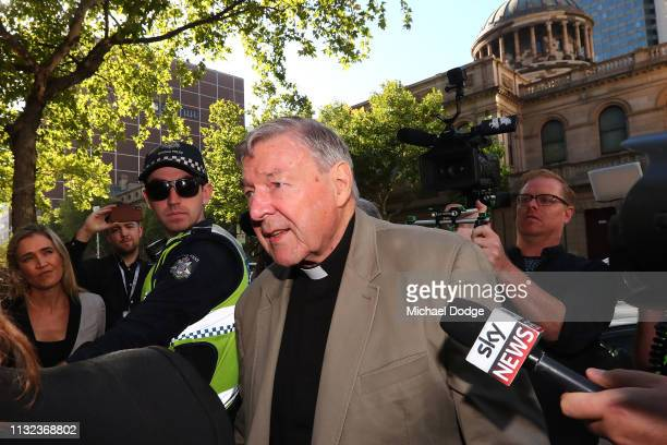 Cardinal George Pell arrives at Melbourne County Court on February 27 2019 in Melbourne Australia Pell once the third most powerful man in the...