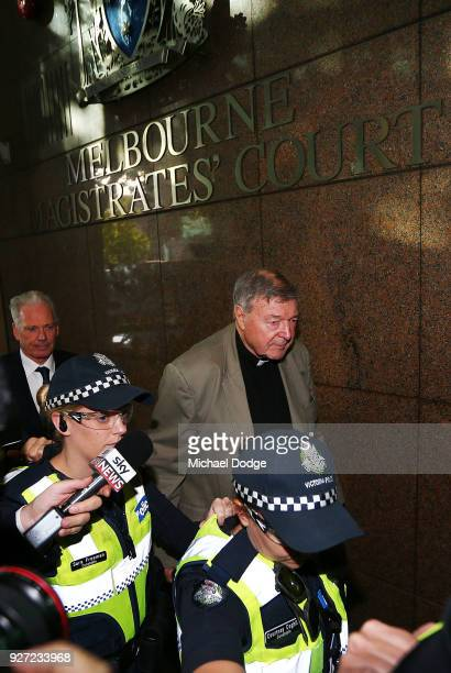 Cardinal George Pell arrives at Melbourne Magistrates' Court on March 5 2018 in Melbourne Australia Cardinal Pell was charged on summons by Victoria...