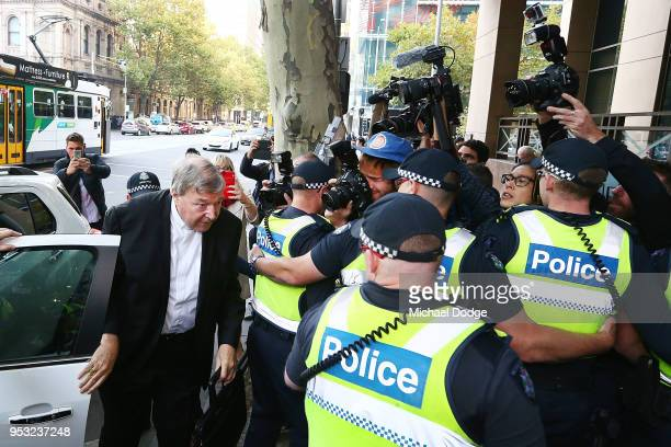Cardinal George Pell arrives at Melbourne Magistrates' Court on May 1 2018 in Melbourne Australia Cardinal Pell was charged on summons by Victoria...